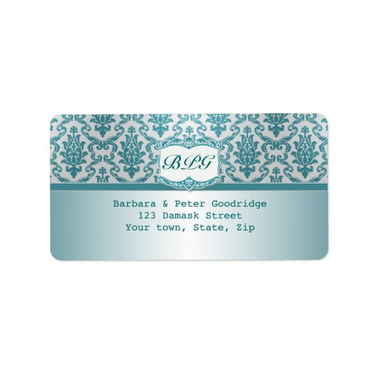 Damask teal monogram Return Address Label