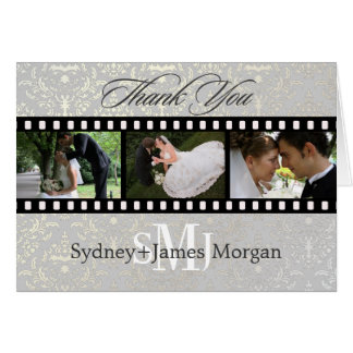 Damask Thank You Cards, wedding photos+monogram Card