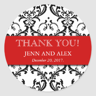 Damask Thank You Wedding Stickers Favours Red