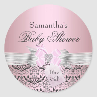 Damask & Tiara Princess Baby Shower Sticker