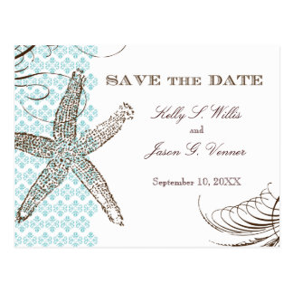 Damask Tropical | Save the Date Announcement Postcard
