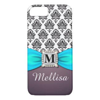 Damask Turquoise Ribbon Diamond Monogram & Name iPhone 8/7 Case