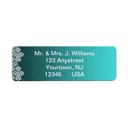 Damask Turquoise Wedding Return Address Label