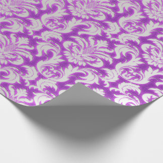 Damask Velvet Silver Gray Bright Pink Magenta Wrapping Paper