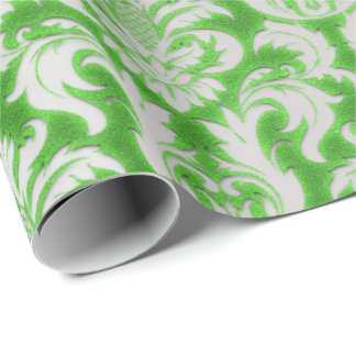 Damask Velvet Silver Gray Fresh Green Limo Wrapping Paper