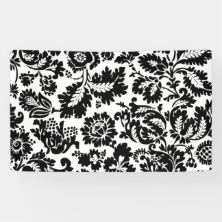 Damask Vintage Black and Whtie Banner