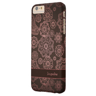 Damask Vintage Paisley Girly Floral Brown Pattern Barely There iPhone 6 Plus Case