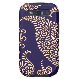 Damask vintage paisley henna floral blue pattern galaxy s3 case