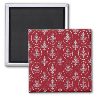 Damask vintage red wallpaper Fleur de lis pattern Refrigerator Magnets