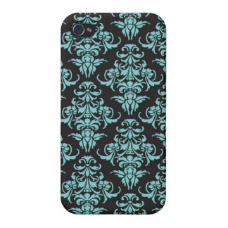 Damask vintage wallpaper blue chic pattern iPhone 4 covers