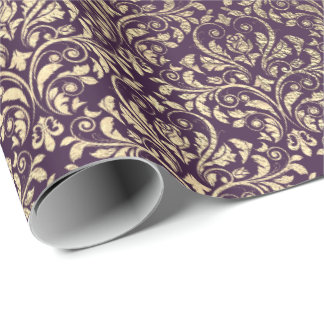Damask Violet Purple Grape Plum Gold Metal Bride Wrapping Paper