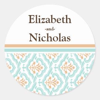 Damask Wallpaper Floral Wedding Invitation Seal