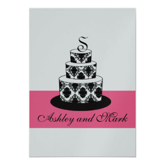 Damask Wedding Cake Initial Pink Silver Invitation