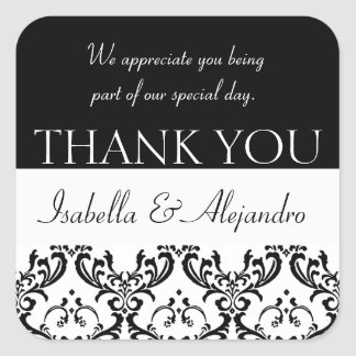 Damask Wedding Favour Thank You Label Black Square Square Sticker