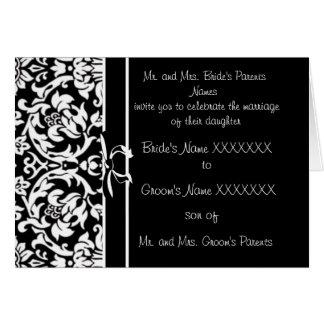 Damask Wedding Invitation - -Black and White
