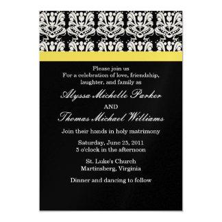Damask Wedding Invitation (Yellow)