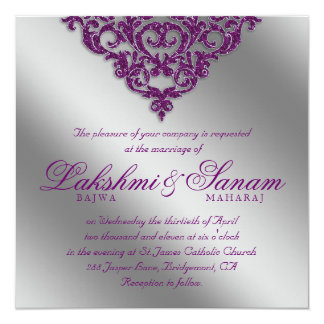 Damask Wedding Invite Sparkle Silver Purple