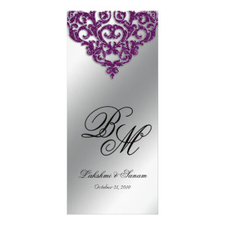 Damask Wedding Menu Cards Purple Glitter Bright