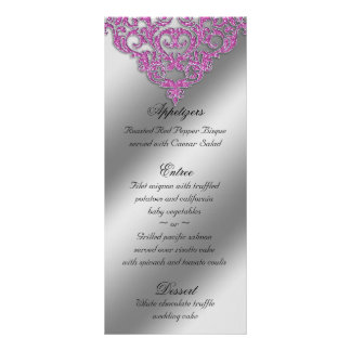 Damask Wedding Menu Cards Sparkle Pink