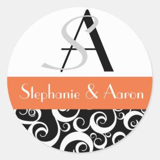 Damask Wedding Monogram in Black and Orange Classic Round Sticker