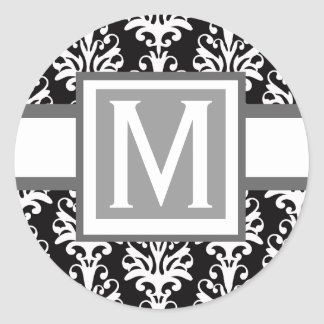 Damask Wedding Monogram Sticker