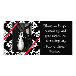 Damask Wedding Photo Thank You Card Picture Card