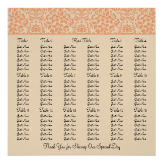 Damask Wedding Reception Seating Chart - Square Poster