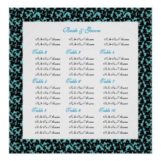 Damask wedding seating charts posters