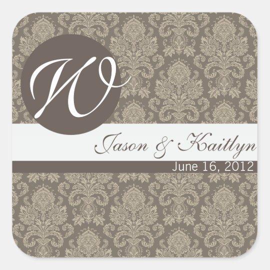 Damask Wedding Sticker