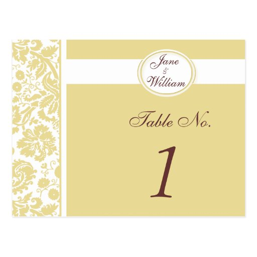 Damask Wedding Table Number Card - Color Select Postcards