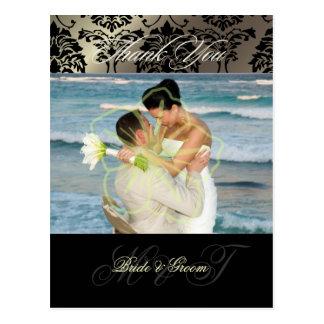 Damask Wedding Thank You Photo postcards, Postcard