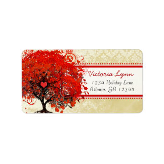 Damask Whimsical Heart Leafed Tree Red Pink Dots