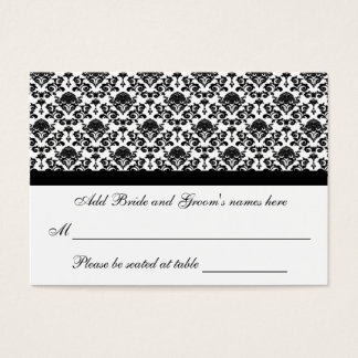 Damask White And Black Formal Seating Place Card