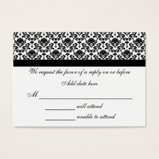 Damask White And Black Response Card