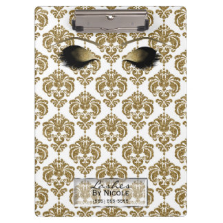 Damask White Gold Makeup Eyes Lashes Personalized Clipboard