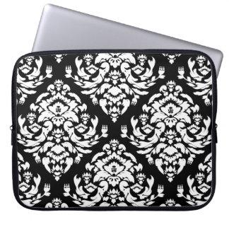 Damask White on Black Laptop Sleeve