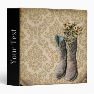 Damask wildflower Western country cowboy boots Binders