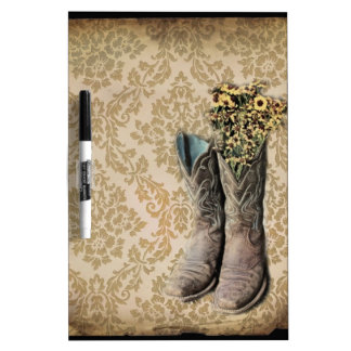 Damask wildflower Western country cowboy boots Dry Erase Whiteboards