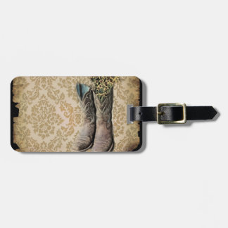 Damask wildflower Western country cowboy boots Luggage Tag