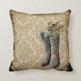 Damask wildflower Western country cowboy boots Throw Pillow