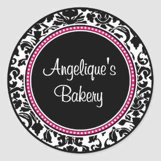Damask with black center and pink trim classic round sticker