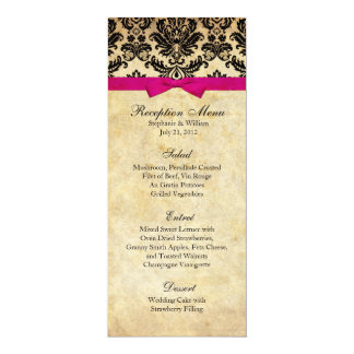 "Damask with Pink Bow Reception Menu 4"" X 9.25"" Invitation Card"