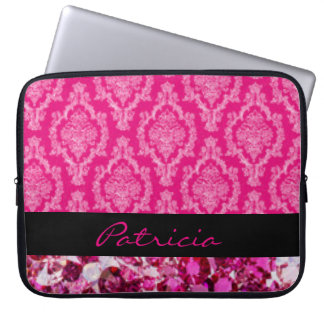 Damask With Pink Diamonds Laptop Sleeve