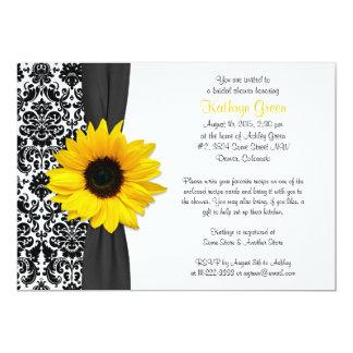 "Damask Yellow Sunflower Recipe Bridal Shower 5"" X 7"" Invitation Card"