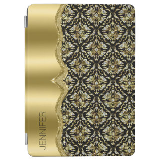 Damasks & Metallis Frame Black, Gold & Diamonds 2 iPad Air Cover