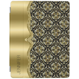 Damasks & Metallis Frame Black, Gold & Diamonds 2 iPad Cover