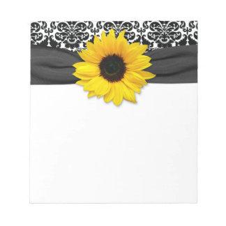 Damassé blanche de tournesol de noir jaune de blocs-notes