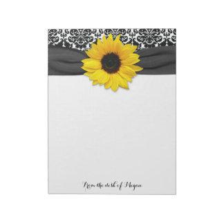 Damassé blanche de tournesol de noir jaune de blocs-notes mémo