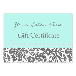 Damassé de gris d'Aqua de certificat-prime de salo Cartes De Visite Professionnelles