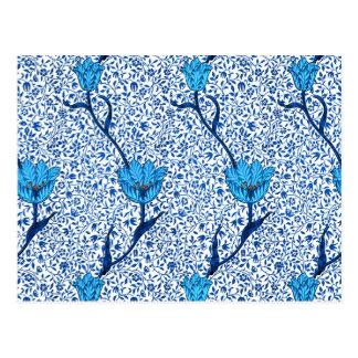 Damassé de tulipe de Nouveau d'art, bleu de cobalt Cartes Postales